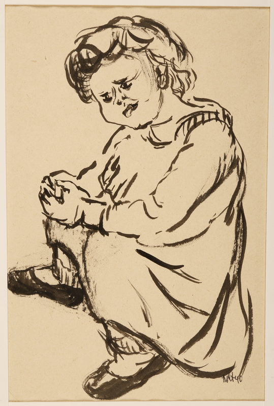1988.1.22 front Drawing of a young boy drawn by a German Jewish internee