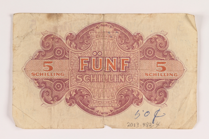 2013.483.4 back Allied Military Authority currency, 5 schilling, for use in Austria inscribed by an American soldier