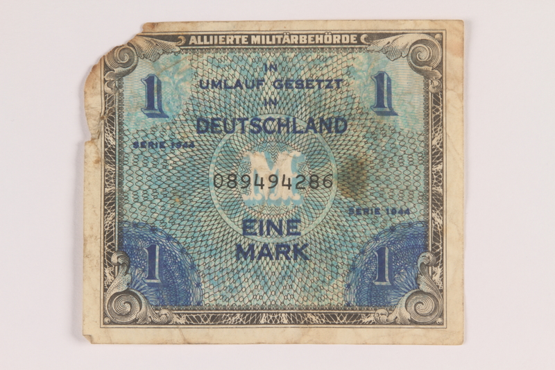 2013.483.5 front Allied Military Authority currency, 1 mark, for use in Germany owned by an American soldier