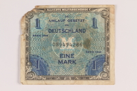2013.483.5 front Allied Military Authority currency, 1 mark, for use in Germany owned by an American soldier  Click to enlarge