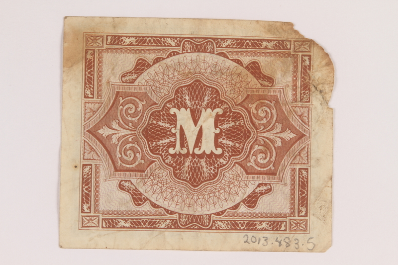2013.483.5 back Allied Military Authority currency, 1 mark, for use in Germany owned by an American soldier