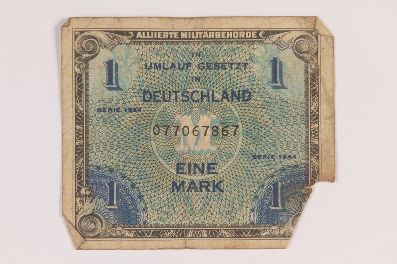 2013.483.6 front Allied Military Authority currency, 1 mark, for use in Germany owned by an American soldier