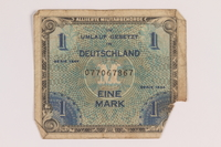 2013.483.6 front Allied Military Authority currency, 1 mark, for use in Germany owned by an American soldier  Click to enlarge
