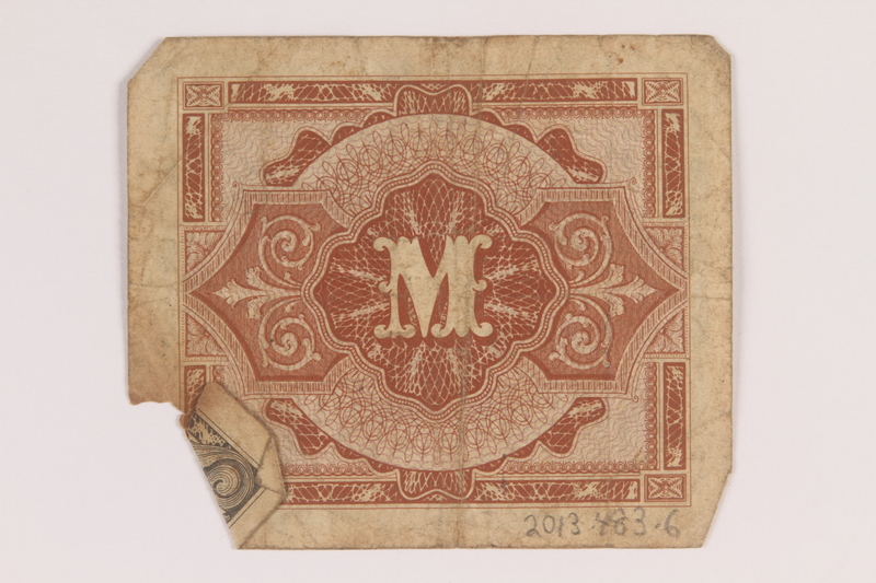 2013.483.6 back Allied Military Authority currency, 1 mark, for use in Germany owned by an American soldier