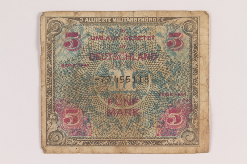 2013.483.7 front Allied Military Authority currency, 5 mark, for use in Germany owned by an American soldier
