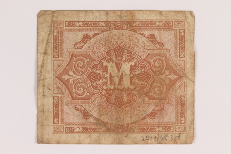 2013.483.7 back Allied Military Authority currency, 5 mark, for use in Germany owned by an American soldier