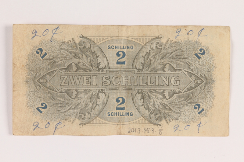 2013.483.8 back Allied Military Authority currency, 2 schilling, for use in Austria inscribed by an American soldier