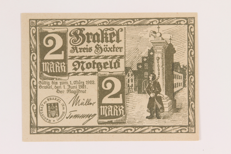 2014.201.2 front Brakel, Germany, 2 mark note