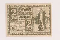 2014.201.2 front Brakel, Germany, 2 mark note  Click to enlarge