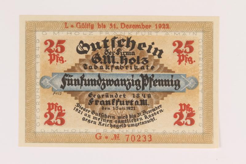 2014.201.3 front Frankfurt am Main, 25 pfennig note