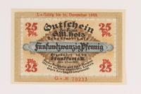 2014.201.3 front Frankfurt am Main, 25 pfennig note  Click to enlarge