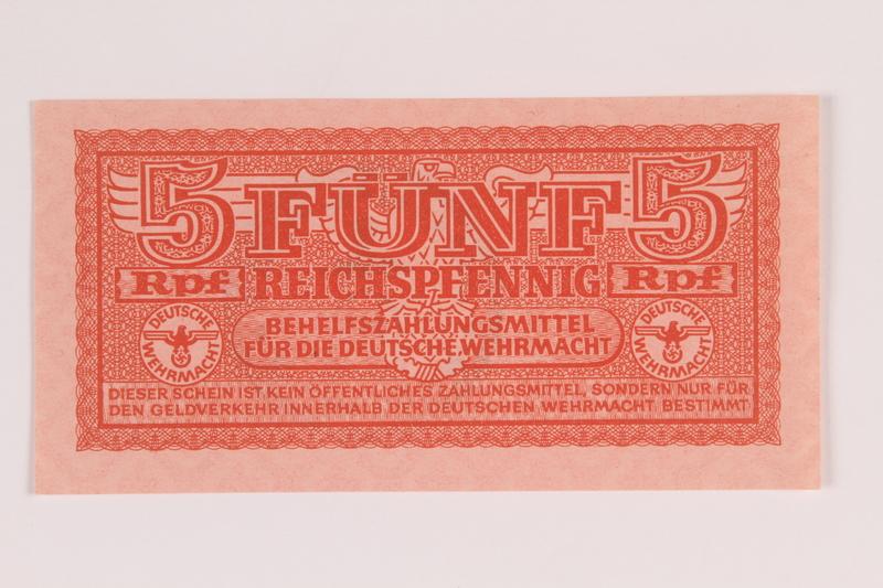 2014.201.6 front German Army, 5 Reichspfennig note