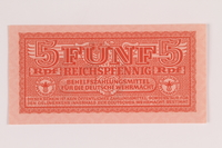2014.201.6 front German Army, 5 Reichspfennig note  Click to enlarge