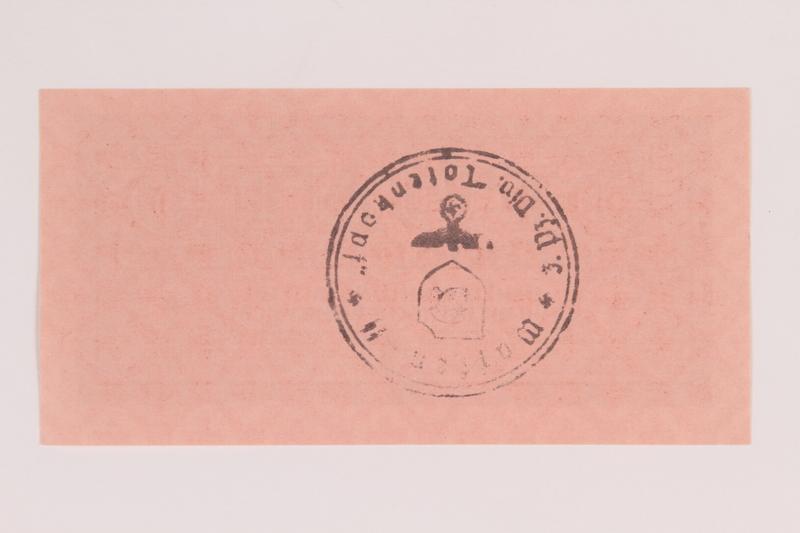2014.201.6 back German Army, 5 Reichspfennig note