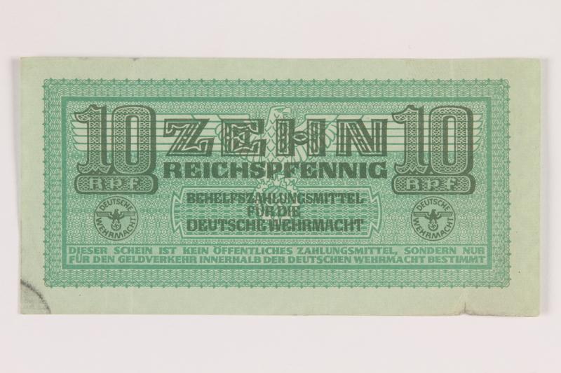 2014.201.5 front German Army, 10 Reichspfennig note