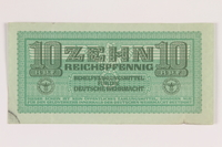 2014.201.5 front German Army, 10 Reichspfennig note  Click to enlarge
