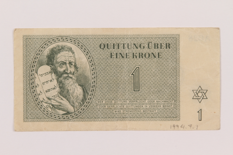 1994.7.1 front Theresienstadt ghetto-labor camp scrip, 1 krone note