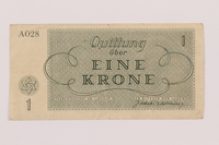1994.7.1 back Theresienstadt ghetto-labor camp scrip, 1 krone note  Click to enlarge