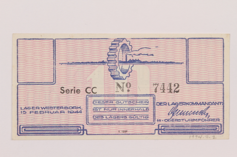 1994.7.2 front Westerbork transit camp voucher, 10 cent note