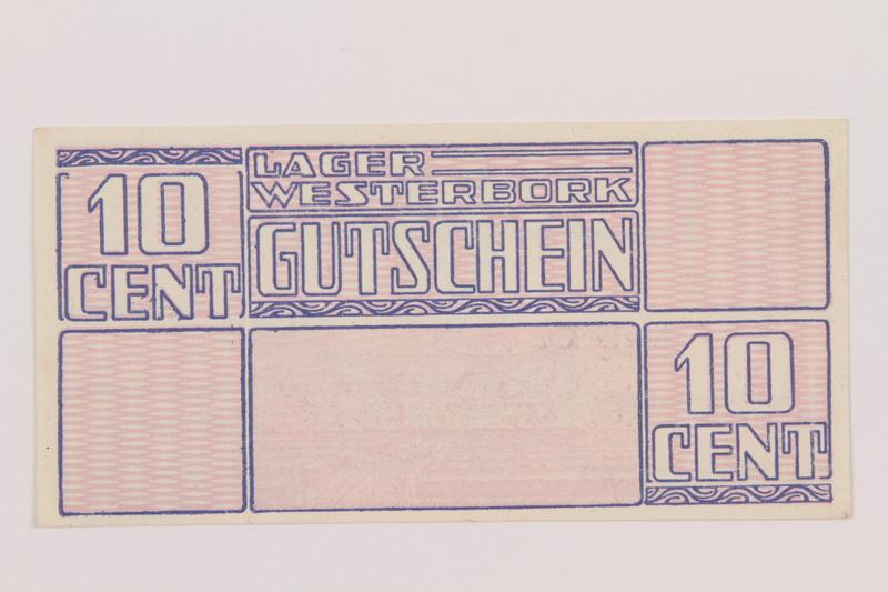 1994.7.2 back Westerbork transit camp voucher, 10 cent note