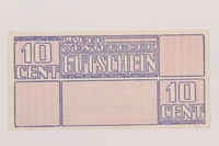 1994.7.2 back Westerbork transit camp voucher, 10 cent note  Click to enlarge