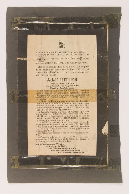 2014.308.1 front Satirical French Anti-Nazi flier found by an American soldier