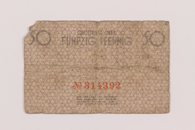 1994.79.1 back Łódź (Litzmannstadt) ghetto scrip, 50 pfennig note