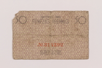 1994.79.1 back Łódź (Litzmannstadt) ghetto scrip, 50 pfennig note  Click to enlarge