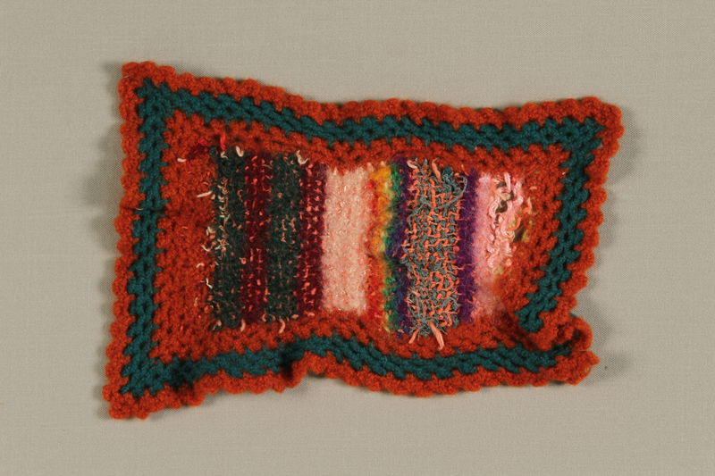 1994.8.2 front Knit square made from yarn remnants in Theresienstadt