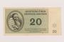 Theresienstadt ghetto-labor camp scrip, 20 kronen note