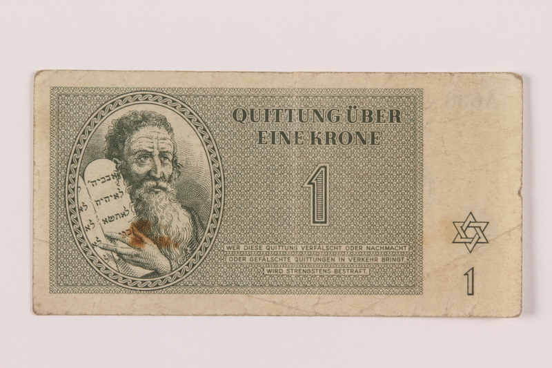 1994.80.1 front Theresienstadt ghetto-labor camp scrip, 1 krone note