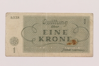 1994.80.1 back Theresienstadt ghetto-labor camp scrip, 1 krone note  Click to enlarge