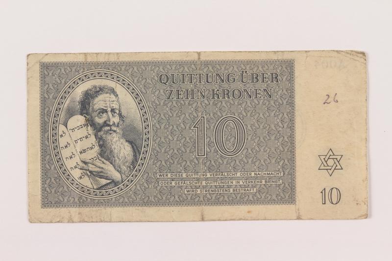1994.80.2 front Theresienstadt ghetto-labor camp scrip, 10 kronen note