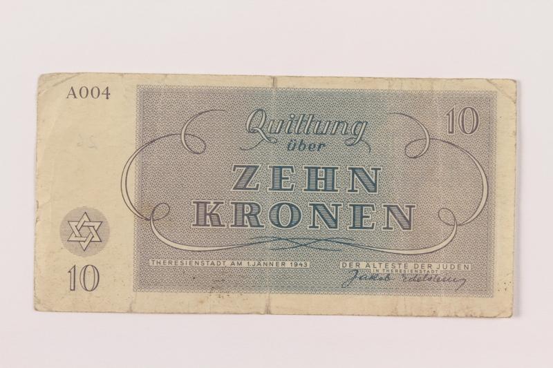 1994.80.2 back Theresienstadt ghetto-labor camp scrip, 10 kronen note