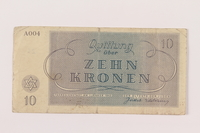 1994.80.2 back Theresienstadt ghetto-labor camp scrip, 10 kronen note  Click to enlarge
