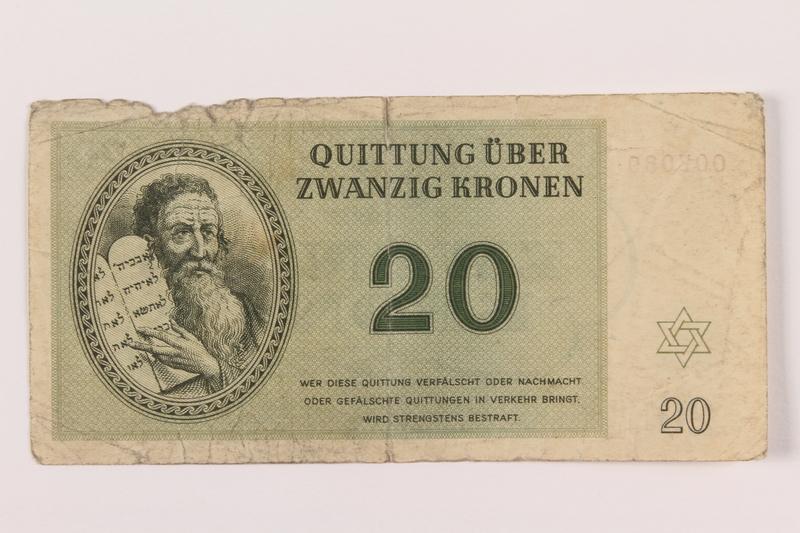 1994.80.3 front Theresienstadt ghetto-labor camp scrip, 20 kronen note