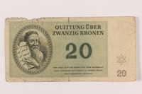 1994.80.3 front Theresienstadt ghetto-labor camp scrip, 20 kronen note  Click to enlarge