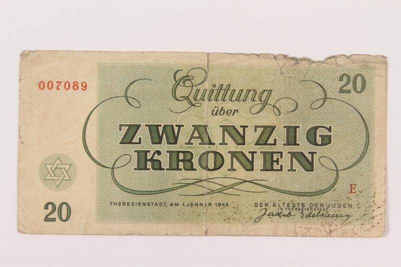 1994.80.3 back Theresienstadt ghetto-labor camp scrip, 20 kronen note