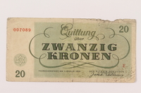 1994.80.3 back Theresienstadt ghetto-labor camp scrip, 20 kronen note  Click to enlarge