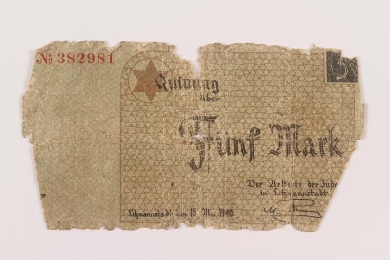 1994.89.1 front Łódź (Litzmannstadt) ghetto scrip, 5 mark note