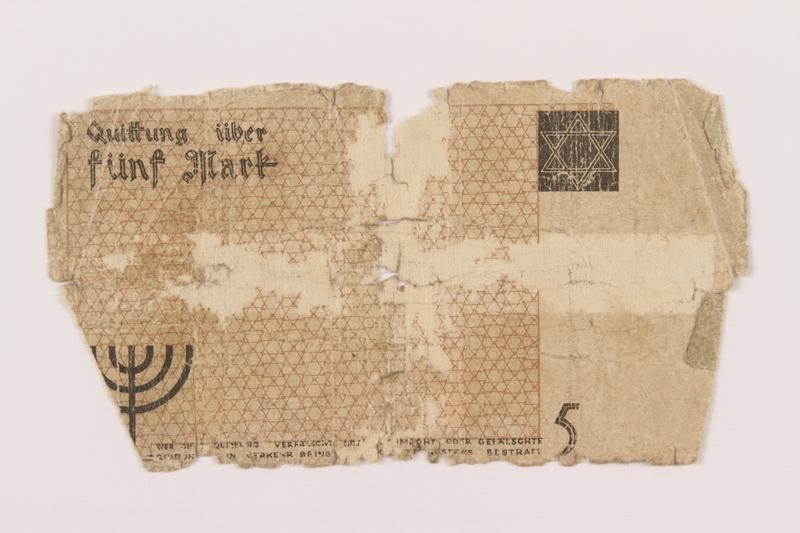 1994.89.1 back Łódź (Litzmannstadt) ghetto scrip, 5 mark note