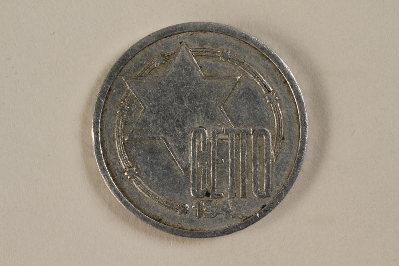 1994.90.1 front Łódź (Litzmannstadt) ghetto scrip, 10 mark coin