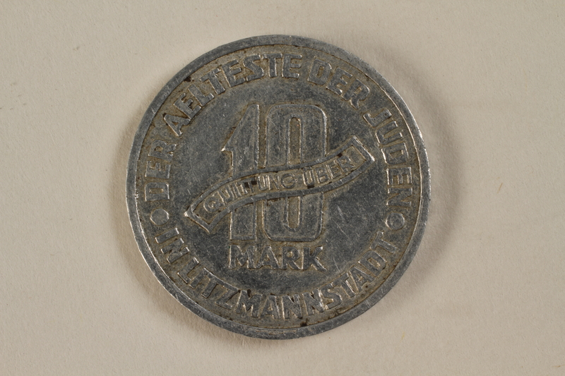 1994.90.1 back Łódź (Litzmannstadt) ghetto scrip, 10 mark coin
