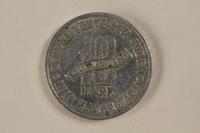 1994.90.1 back Łódź (Litzmannstadt) ghetto scrip, 10 mark coin  Click to enlarge