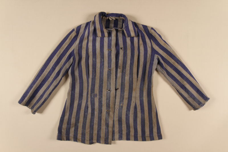 1989.162.1 front Concentration camp uniform jacket worn by a Polish Jewish woman in multiple concentration camps