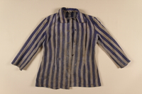 1989.162.1 front Concentration camp uniform jacket worn by a Polish Jewish woman in multiple concentration camps  Click to enlarge