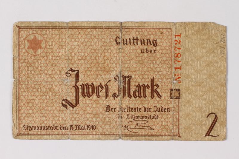 1994.95.1 front Łódź (Litzmannstadt) ghetto scrip, 2 mark note acquired by a Polish Jewish survivor