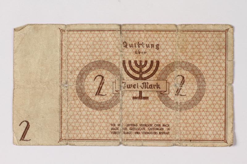 1994.95.1 back Łódź (Litzmannstadt) ghetto scrip, 2 mark note acquired by a Polish Jewish survivor
