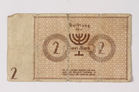 1994.95.1 back Łódź (Litzmannstadt) ghetto scrip, 2 mark note acquired by a Polish Jewish survivor  Click to enlarge