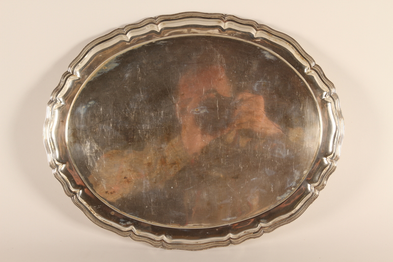 1994.97.1 front Engraved sterling silver tea tray honoring recipient's service to the URO